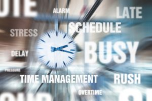 Blurry picture of clock with words stress, time management, schedule, busy, rush, delay, late, overtime around it